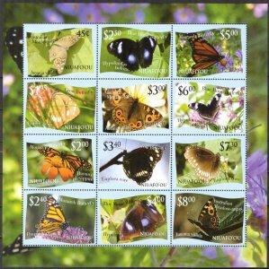 Tonga / Niuafo'ou 2012 Butterflies Sheet of 12 MNH **