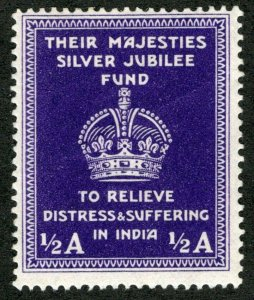 India -Vintage Poster Stamp Label MAJESTIES SILVER JUBILEE FUND Relief to INDIA