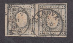 Sardinia Sc P2 used 1861 2c black Newspaper horiz. pair