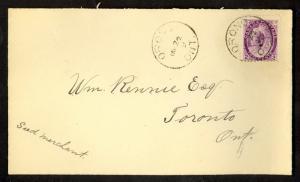 CANADA 1899 QV 2c Purple Sc 76 on Cover ORONO to TORONTO via CASTLE