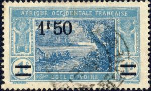 CÔTE-D'IVOIRE - 1927 Yv.77 / Mi.79 1fr50 sur 1fr bleu clair & bleu - Oblitéré TB