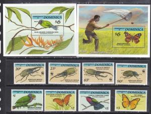 Dominica 1994 butterflies insects wwf set+s/s MNH