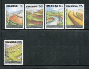 Rwanda MNH Nature, Agriculture, overprints short set  x18515