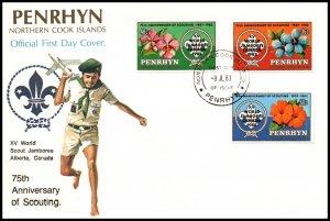 Penrhyn Island 219-221 ScoutingU/A FDC