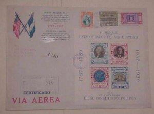GUATEMALA  FDC  1939 JAN 10 REGISTERED  1938