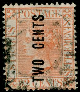MALAYSIA - Staits Settlements SG59, 2c on 32c pale red, used. Cat £250.