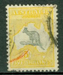 AUSTRALIA  Scott 100 the 5 shillling  Kangaroo Map stamp CV$150