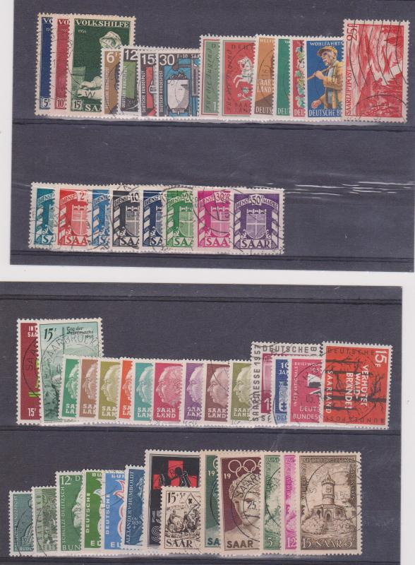 Saar - Lot of 50 Stamps 1948-1959 Used