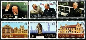 ANGUILLA - 1974 - WINSTON CHURCHILL - ROOSEVELT - BLENHEIM + MINT SET OF 6!