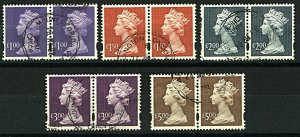 GB 1993/2011 Range of HV Machins in Pairs 10v VFU Stamps