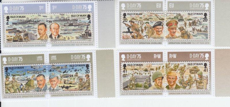 2019  Isle of Man D-Day Invasion WWII (4 Pairs; 8) (Scott 2011-14) MNH
