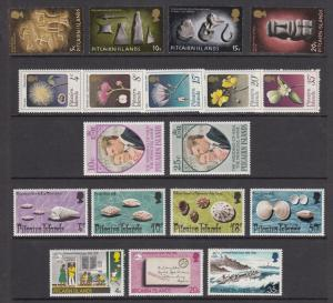 Pitcairn Island Sc 119/143 MNH. 1971-74 issues, 5 cplt sets, VF