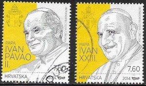 Croatia 910a-910b Used -  Canonisation of two Popes - John Paul II & John XXIII