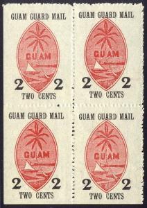 GUAM M4 Unused VF BLOCK - 2c Guam Guard Mail