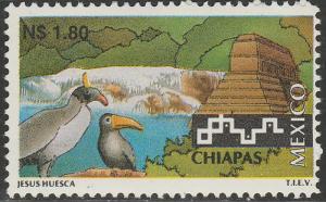MEXICO 1789, N$1.80 Tourism Chiapas, birds, pyramid. Mint, Never Hinged F-VF.