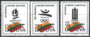 Lithuania. 1992. 496-98. Albertville, winter olympics. MNH.