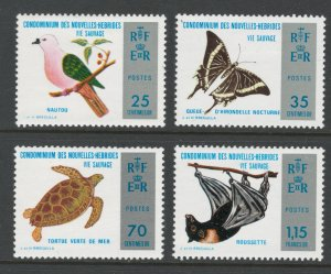 French New Hebrides 1974 Nature Conservation Scott # 202 - 205 MH