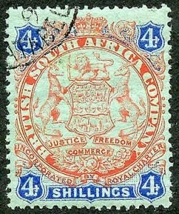 Rhodesia SG37 4/- Orange-red and blue/green (The Top Value)