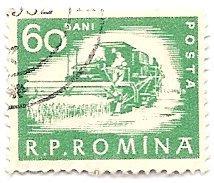Romania 1358 (used) 60b harvester, green (1960)