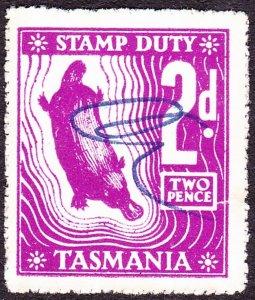 TASMANIA 2d Purple Stamp Duty Revenue Stamp FU