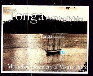 Tonga 492a MNH 1981 Ship self-adhesive S/S