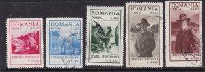 ROMANIA  ^^^^^^1931 YT# 422-426 used SEMIS SET ( SCOUTS) $$@ lar4641roma