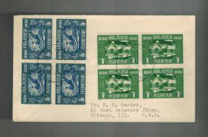 1930 Iceland Airmail Cover to USA block of 4 # 153 154