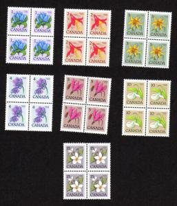 CANADA FLORAL DEFINITIVES MINT NEVER HINGED BLOCKS OF 4 SET SCOTT # 781-787