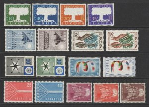 1957 Europa Sets Complete inc Luxembourg. MNH. Cat approx £335 as singles
