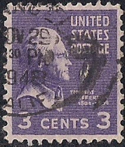 807 3 Cent SUPER CANCEL Thomas Jefferson Stamp Used XF