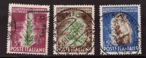 Italy Scott 544-546 Used 1950 Tobacco conference set
