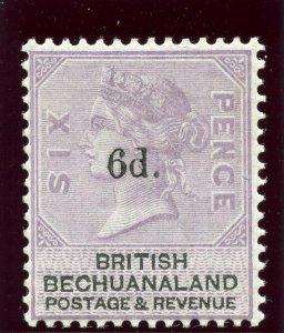 Bechuanaland 1888 QV 6d on 6d lilac & black (black ovpt) MLH. SG 26. Sc 24.