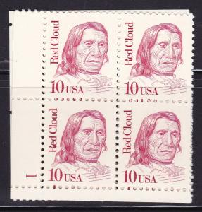 United States 1986 Great Americans 10c Red Cloud Plate Number Block VF/NH