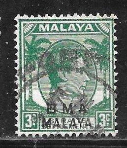 Straits Settlements 258: 3c George VI, blue green, used, F-VF