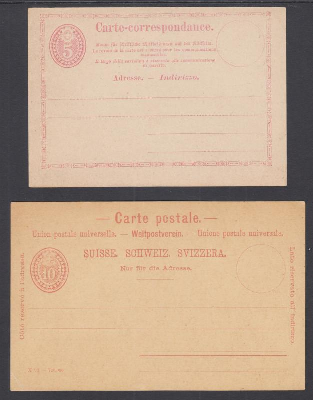 Switzerland H&G 3, 13 mint 1873 5c & 1879 10 Postal Cards, almost VF