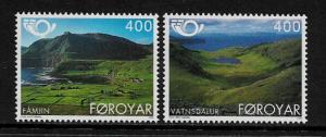 Faroe Is #280-1 MNH Set - Tourism - Scenery