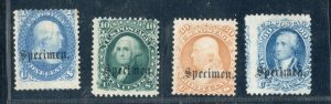 #63S, 68S, 71S, 72S Specimen Stamps Fine Usual Cond. SCV. $800 (JH 4/15)