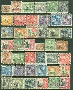 EDW1949SELL : MALTA 1938-48 Scott #191-205, 208-22 Both Cplt sets VFMOG Cat $140
