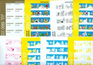 Denmark. Christmas Seal 1990.Comp. Set 9 Sheet. Scale/Proof Print. Imperforated