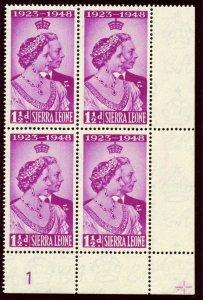 Sierra Leone 1948 KGVI Silver Wedding 1½d bright purple PLATE 1 block MNH SG 203
