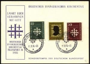 GERMANY 1956 Church Conference set etc on commem card - special pmk........99819