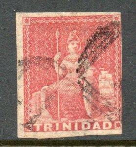 Trinidad 1854 Britannia (1d) rose-red on white paper imperf SG 12 used