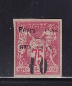 French Guiana Scott # 11 VF OG previously hinged nice color scv $ 400 see pic !