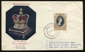 Another Swaziland QEII 1953 Coronation cacheted cover to New York