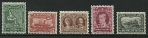 Newfoundland 1928 1 cent to 5 cents unmounted mint NH