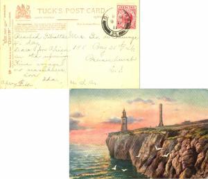 Gibraltar 1d KEVII 1911 Gibraltar, 25 (Lighthouse) to Bensonhurst, N.Y.