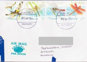 VANUATU FAUNA DRAGONFLY REGISTERED AIR LETTER TO KARABAKH ARMENIA AP465