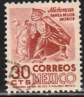 MEXICO 879, 30cents 1950 Definitive 2nd Printing wmk 300 USED. F-VF.(1405)