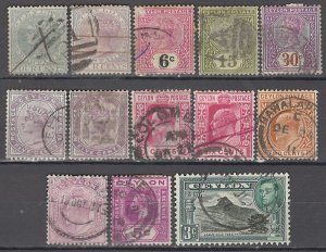 COLLECTION LOT OF #999 CEYLON 13 STAMPS 1872+ CLEARANCE