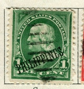 PHILIPPINES; 1899 early Presidential Optd. series issue used 1c. value